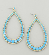 Turquoise Cabochan Teardrop Earring  Color: Turquoise  Length: 3 1/4 inches long