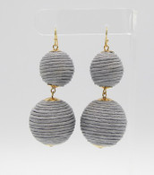 Ball Drop Earrings  Color: Grey  Size: 2 3/4 inches long