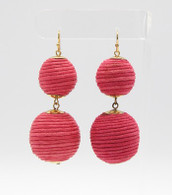 Ball Drop Earrings  Color: Fuschia  Size: 2 3/4 inches long