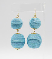 Ball Drop Earrings  Color: Blue  Size: 2 3/4 inches long