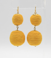 Ball Drop Earrings  Color: Yellow  Size: 2 3/4 inches long