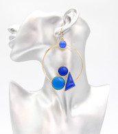 Geo Statemen Hoop Earrings  Color: Blue  Size: 4 inches long