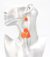 Geo Statemen Hoop Earrings  Color: Orange  Size: 4 inches long
