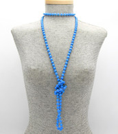 Long Marbleized Beaded Necklace  Color: Blue  Size: 60 inches long