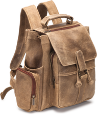 Distressed Leather Multi Pocket Back Pack
