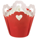 Pleated Red Heart Baking Cups