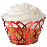 Wilton Red Foil Swirls Cupcake Wraps