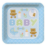 Teddy Baby Blue Square Plates