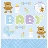 Teddy Baby Blue Table Cover Plastic
