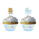 Teddy Baby Blue Cupcake Wrappers with Toppers