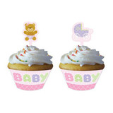 Teddy Baby Pink Cupcake Wrappers with Toppers