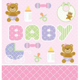 Teddy Baby PinkTable Cover Plastic