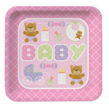 Teddy Baby Pink Square Plates