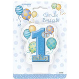 1st Birthday Bougie Blue Candle