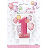 1st Birthday Bougie Pink Candle