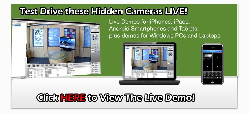 Free Test Drive Live Demo of PalmVID Brand Hidden Cameras Spy Cameras Nannycams