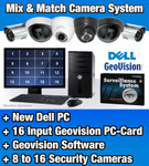 8 to 16 Security Camera System with 16 Input Dell PC-DVR