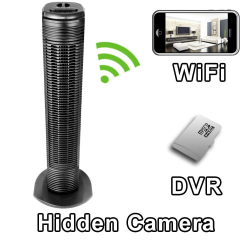 Tower Fan Hidden Camera Spy Camera Nanny Cam With Built-in DVR And WiFi Live Viewing from iPhone and Android