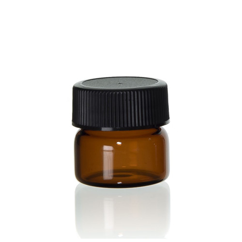 Wide Mouth Amber Glass Vial w/ Cap - 26 x 26 mm