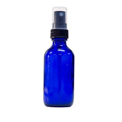 2 Ounce Cobalt Blue Boston Round Bottle w/ Sprayer