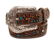 Ariat Western Girl Belt Kids Leather Tooled and Rhinestones A1304027