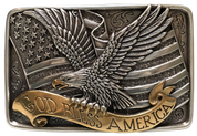 Nocona God Bless America Buckle - Silver/Gold 37015