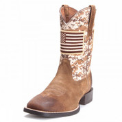 Ariat Mens Camo Sport Patriot Wide Square Toe Cowboy Boots Mocha 10019959