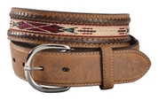 Tony Lama Men's Woven Leather Lace Belt