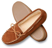 Mens Minnetonka Brown Suede Pile Lined Hardsole Moccasin