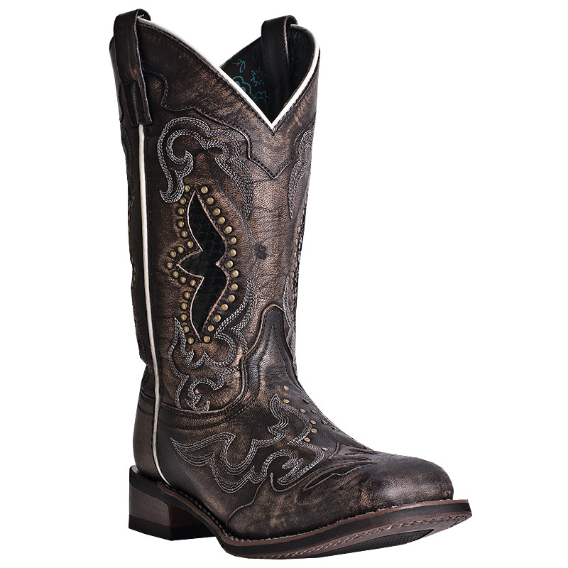 94fbf6f5000f Laredo Womens Black Tan Wide Square Toe Snake Print Inlay Western ...