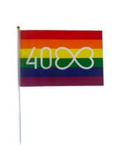 Mardi Gras 40th Anniversary Rainbow Hand Flag