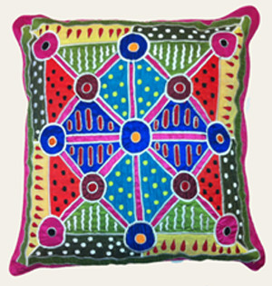 Buy your Appliqué & Embroidery Cushion Cover in Pink by Bridgette Wallace at Bargain Box