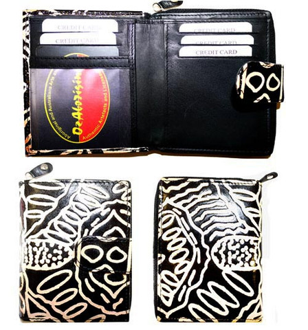 Buy your Leather Wallet - Small Keringke in Black by Bridgett Wallace at Bargain Box