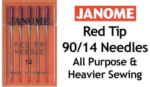 Janome size 14 Red Tip Sewing Machine Needles are particularly useful for metallic thread, overlocking, serging, multi-layer quilting and for heavier weight fabrics, including denim.