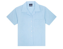 Midford Girls Open Neck Short Sleeve Blouse - white, sky blue, lemon and school blue 5038 school uniform