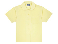Midford Girl's Short Sleeve Peter Pan Blouse -  White, Sky Blue & Lemon
