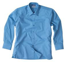 Midford Boys Long Sleeve  Shirt Brushed Cotton - White or School Blue