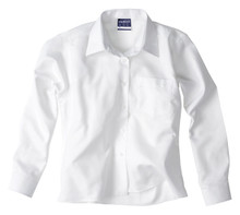Midford Girl's Long Sleeve White Shirt Brushed Cotton