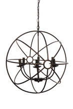 Pluto 6 Arm Antique Black Chandelier