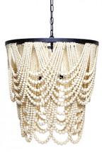 Bilgola Iron Timber Beads Pendant Chandelier