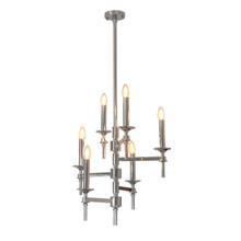 Nickel 6 Straight Arm Chandelier