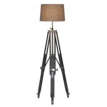Nickel And Dark Wood Tripod Floor Lamp