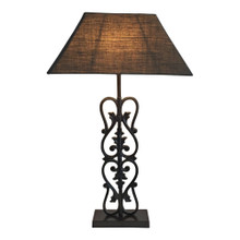 Bronze Filigree Lamp With Natural Linen Shade