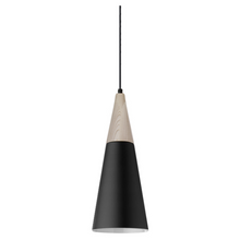 Wood Black Metal Cone Pendant Light