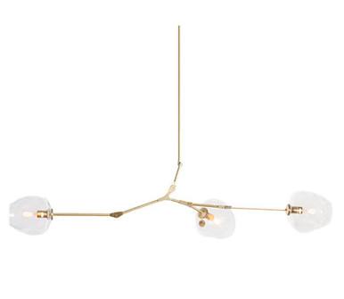 Replica Branching Bubble Chandelier - 3 Light - Brass Body - Clear Glass
