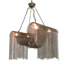 BRASS METAL WAVE CHAIN CHANDELIER