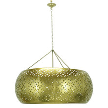 LARGE CARVED METAL PENDANT LIGHT