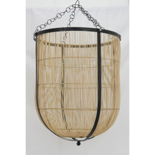 RATTAN BOWL PENDANT WITH IRON FRAME
