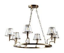 Sienna Brass 6 Arm Glass Chandelier Main