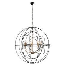 Extra Large Black Brass Iron Orb Pendant Light